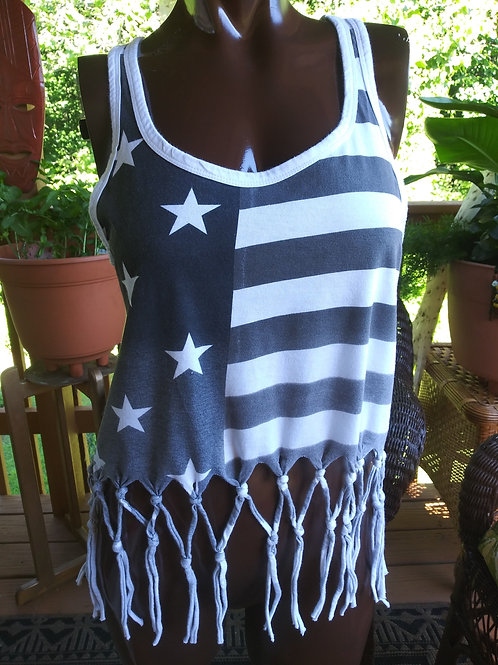 Black & White flag top (M)