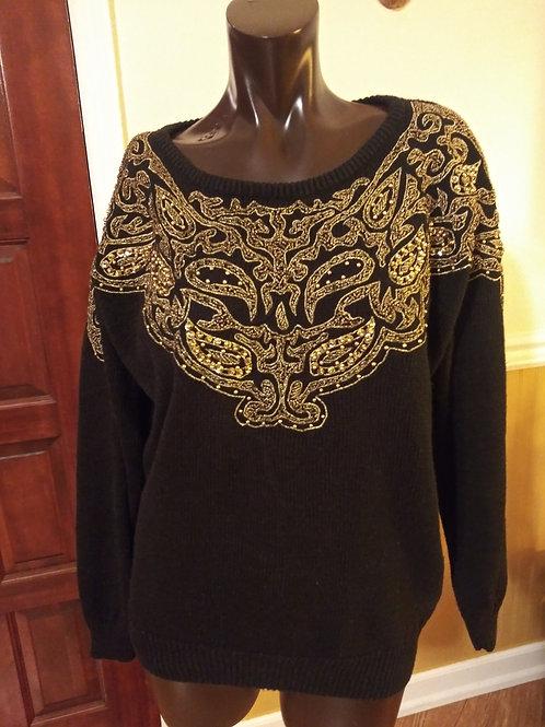 Vintage black & gold royalty sweater (S)