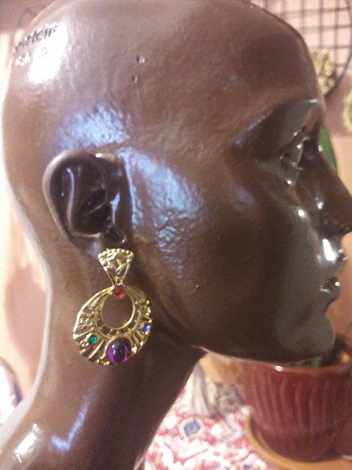Vintage chunky jeweled earrings