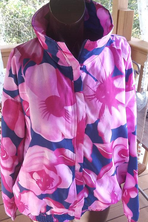 Vintage flower power print bomber jacket (L)