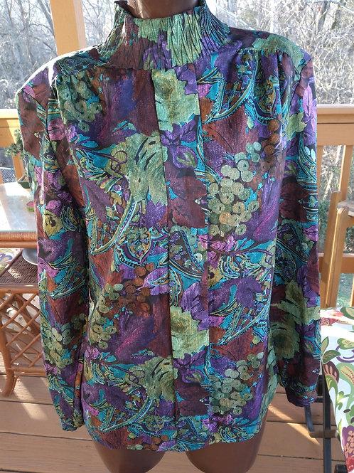 Vintage grapevine print blouse (M)