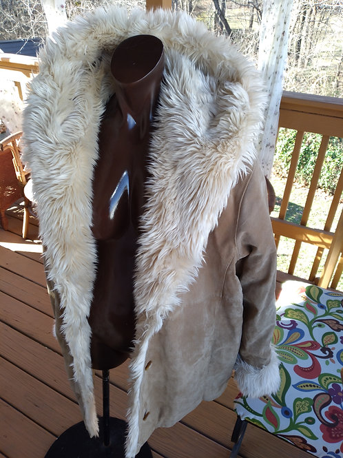 Vintage genuine suede leather coat w/hood (2X)