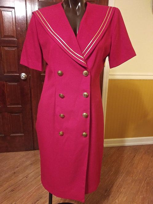 Vintage red & gold sailor dress (M)