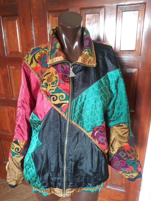 Vintage multi fabric windbreaker jacket (M)