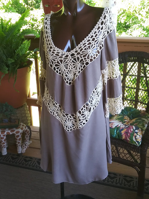 Taupe Boho crochet dress or swimsuit cover up (M)