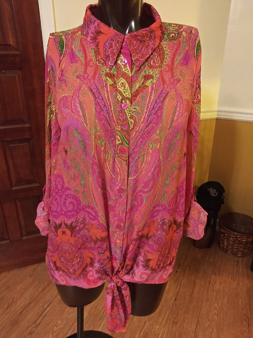 Psychedelic paisley print blouse (M)