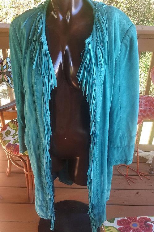 Vintage teal suede coat (M)