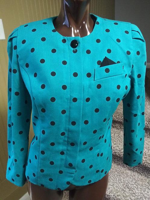 Vintage teal polkadot blazer (M)