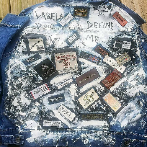 Custom handpainted denim jacket (M)