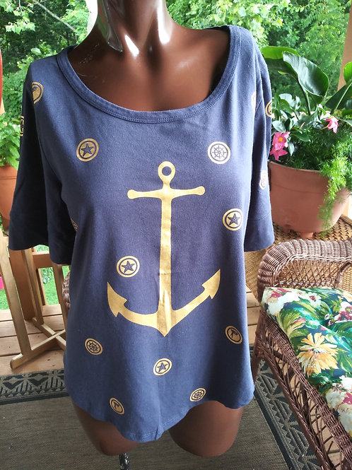 Vintage Navy blue & gold anchor tee (M)
