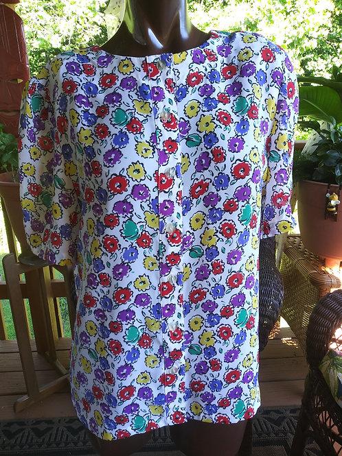 Vintage floral print button down blouse (M)