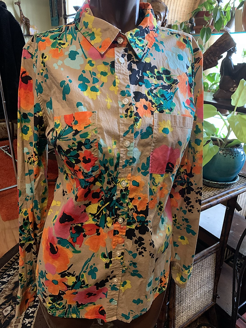 Vintage floral print blouse (M)