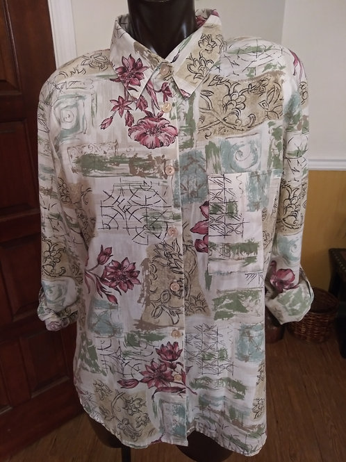 Vintage multi print blouse (M)