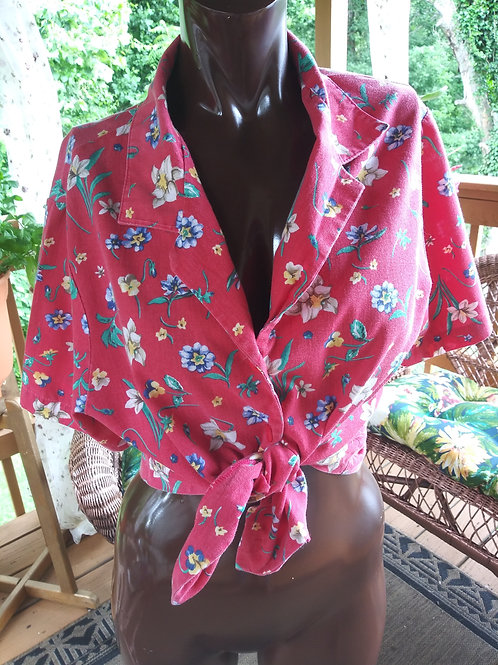 Vintage floral print blouse (S)