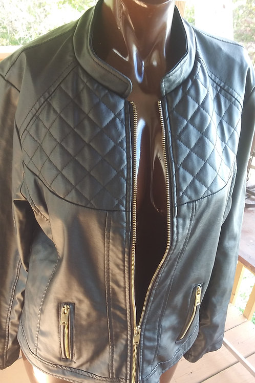 Black faux leather quilted pattern jacket
