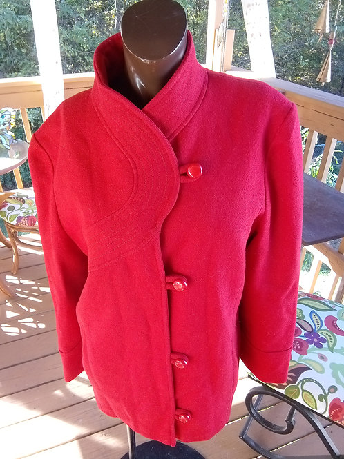 Vintage red peacoat (M/L)