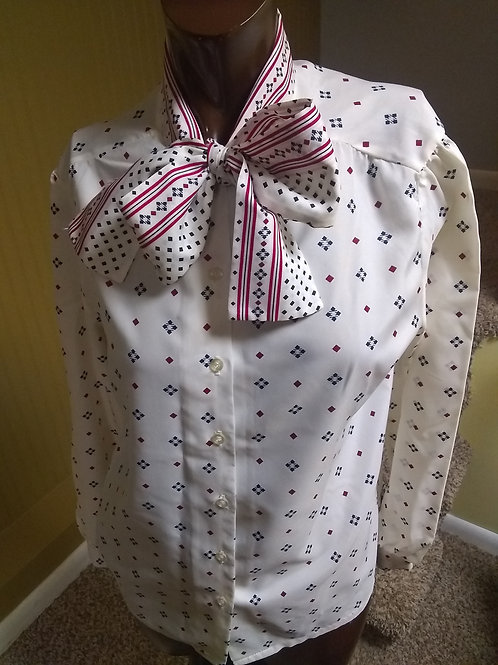 Vintage pussy bow blouse (M)