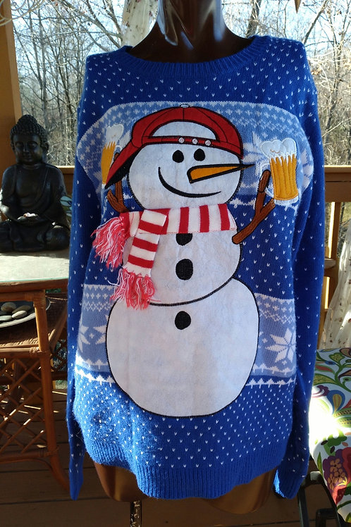 Vintage snowman with beer sweater (M/L)