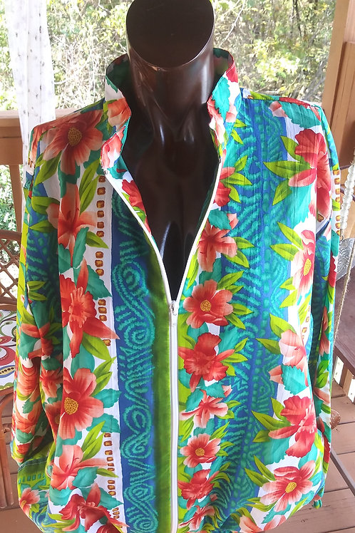 Vintage tropical print bomber jacket (M)