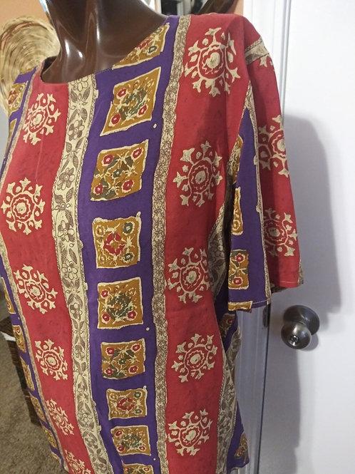 Vintage multi print silk blouse (S)