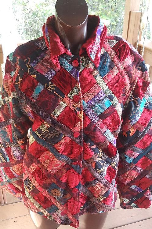 Vintage multi fabric patchwork jacket (M)