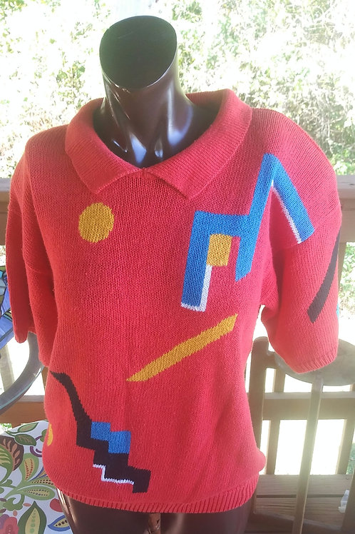 Vintage abstract sweater polo (M)
