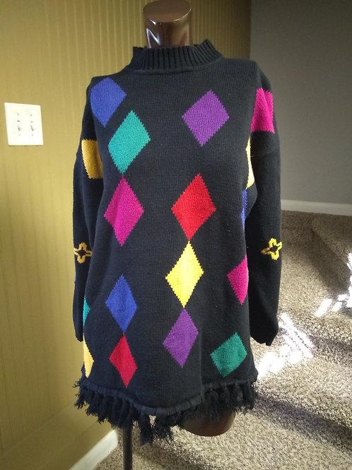Vintage multi color diamond sweater (S)