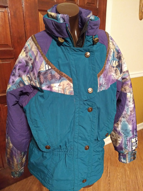 Vintage multi print winter coat (S/M)