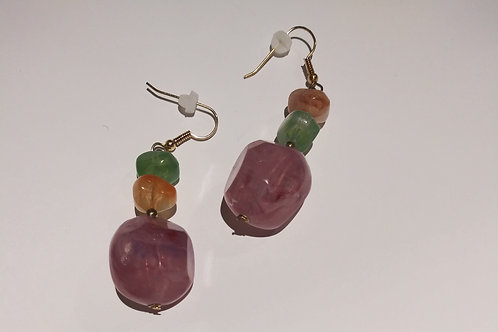 Vintage tri color stone earrings