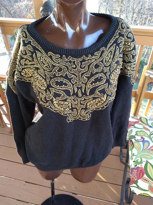 Black vintage  embellished sweater (S)
