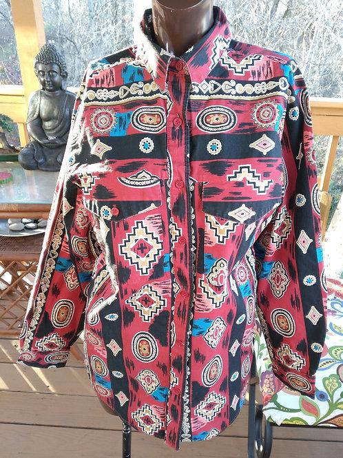 Vintage western print blouse (M)