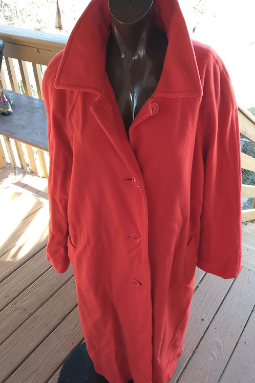 Vintage long red peacoat  (XL)