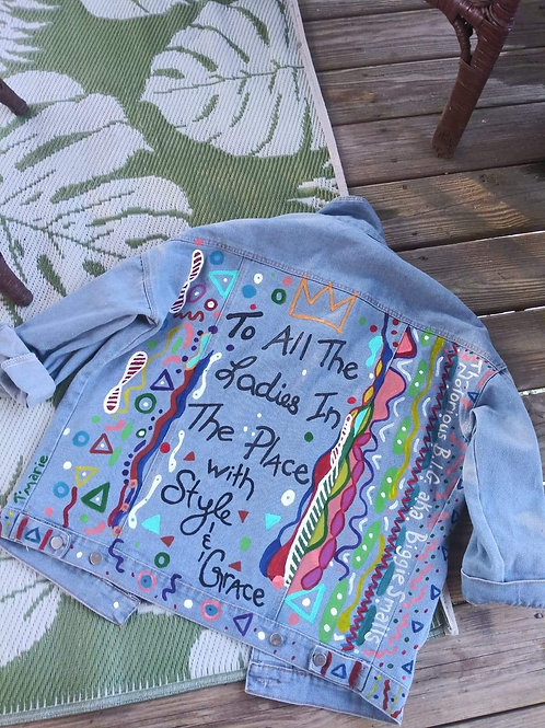 Handpainted vintage denim jacket (M/L)