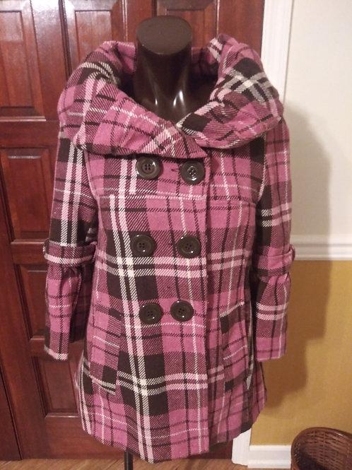 Plaid pink, brown & cream peacoat/jacket (S/M)