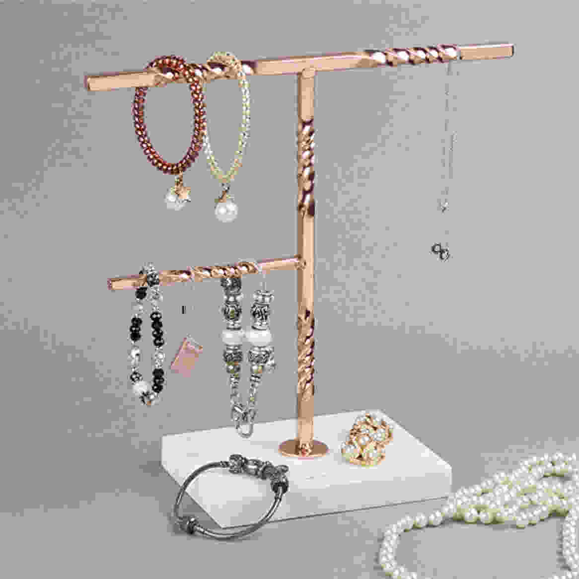 Creative Home Tree Stand with Natural Stone Marble Base Copper