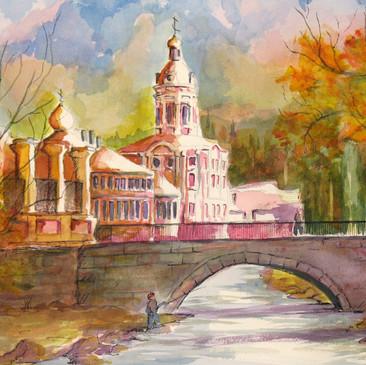 Monestary in Autumn by Mark Copple