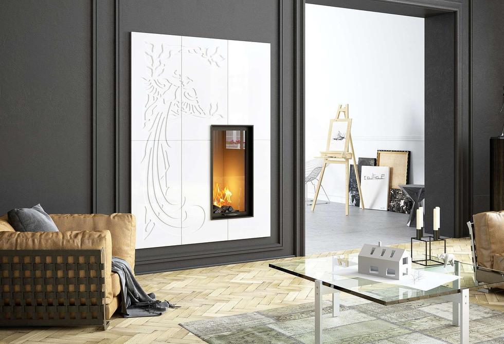 Belvedere Ceramic Tile Fireplace