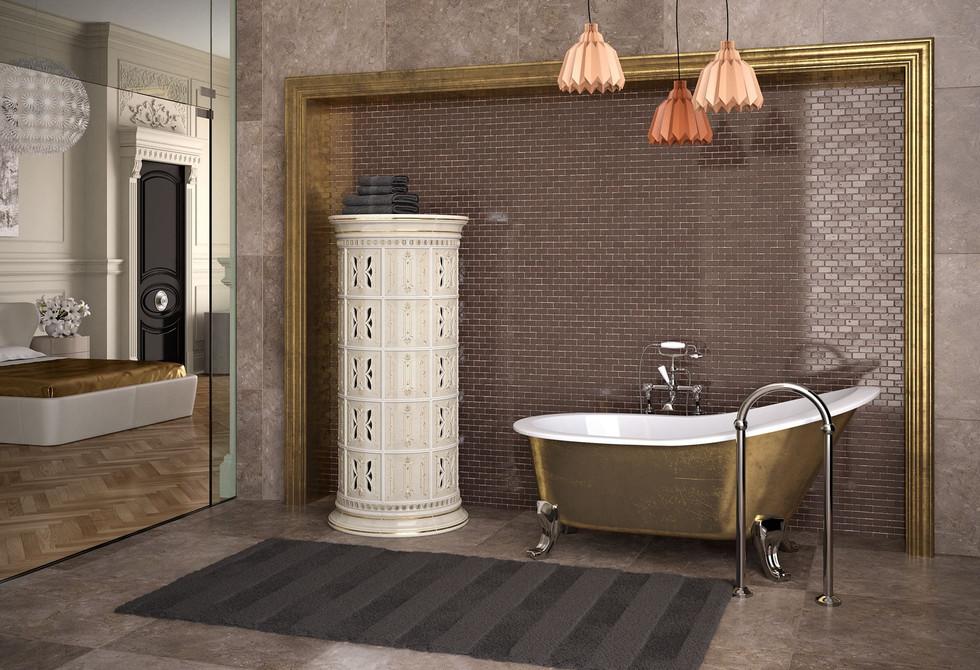 Belvedere Electric Ceramic Tile Fireplace