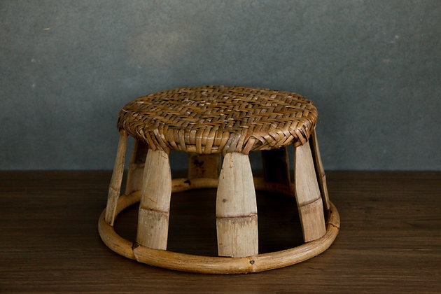 Rustic Bamboo Low Stool