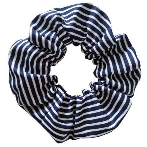 Navy Striped Scrunchie