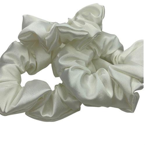 White super soft satin scrunchie