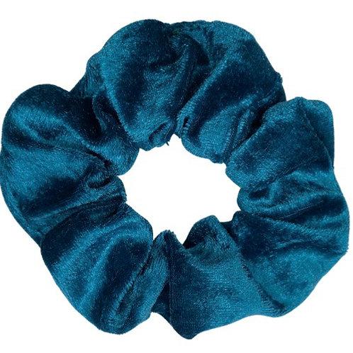 Teal Crushed Velvet Scrunchie