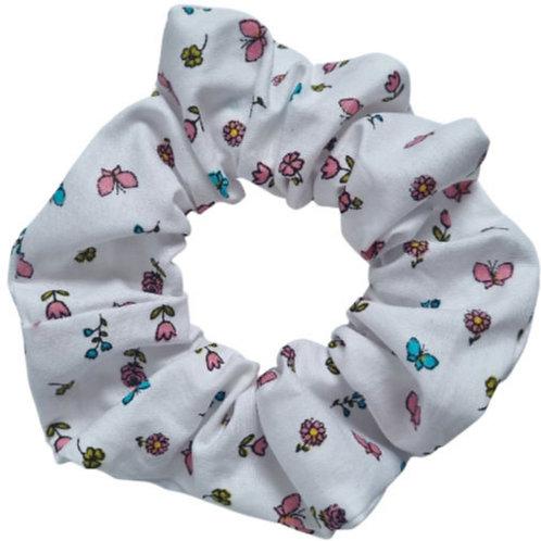 White Floral Scrunchie