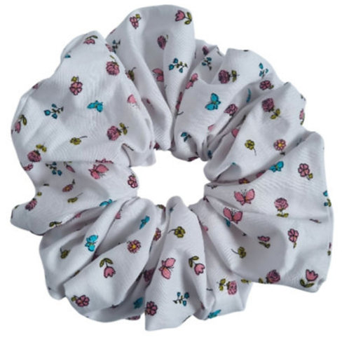 White Maxi Floral Scrunchie