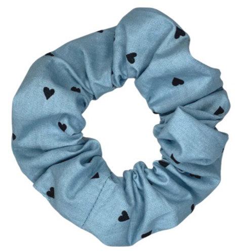 Blue Heart Scrunchie