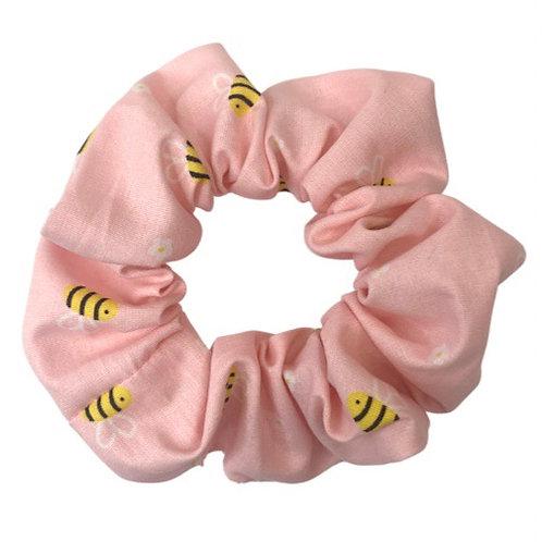 Pink Bee Scrunchie
