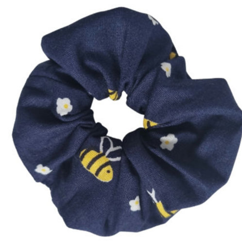 Navy Bee Baby Scrunchie
