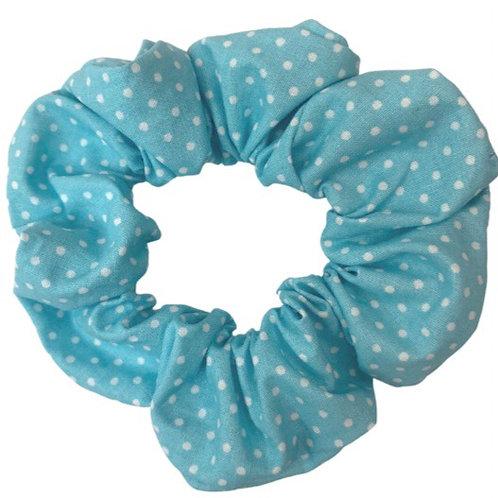 Pale Blue Spotty Scrunchie