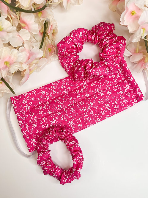Pink floral mask and scrunchies