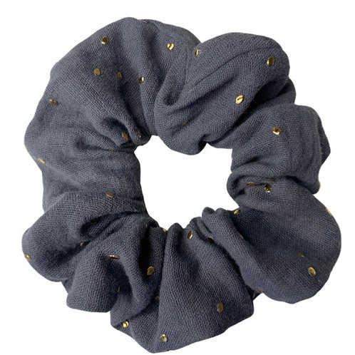 Gold Embossed Grey Scrunchie